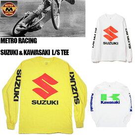 【METRO RACING】メトロレーシング ロングスリーブ Tシャツ suzuki kawasaki スズキ カワサキ モーターサイクル アメカジ メンズ 長袖 L/S TEE バイカー/T128 T129