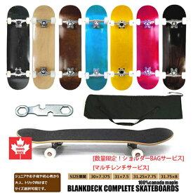 カナダメイプル ブランクデッキ スケートボード コンプリート[バッグ/工具付き]BLANK DECK SKATEBOARDS KIDS ADULT [4サイズ展開/8色] 完成品 無地/木目 95Aウィール lowトラック 7層ウッド スケボー メンズ レディース キッズ 大人 男女 子供