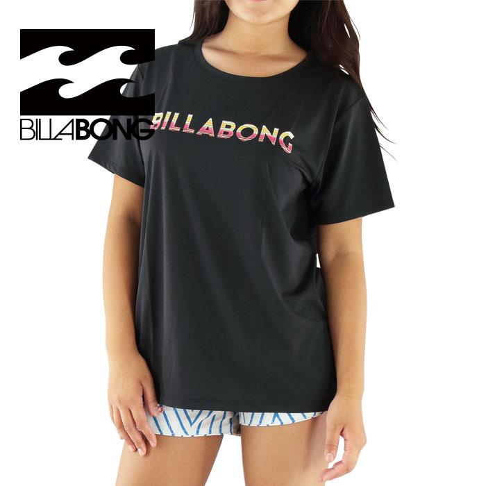 SALE ビラボン レディース ラッシュTシャツ UPF50+ 黒 半袖Tシャツ ラッシュガード BILLABONG AH013890 BLK