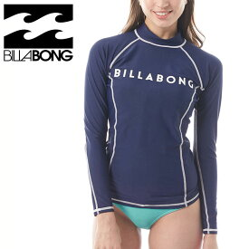 ビラボン レディース 長袖ラッシュガード 紺色 プルオーバー ロゴプリント 紫外線対策 ラグランスリーブ