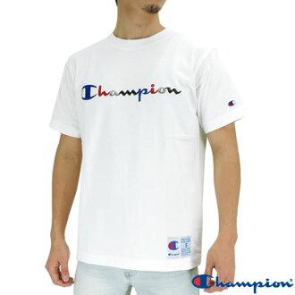 冠軍的標誌繡 T 襯衫是白色的短袖 T 襯衫男裝冠軍標誌發球動作風格 C3 H371