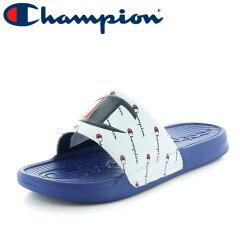 チャンピオン-スレイ-定番-シャワーサンダル-ロゴ-ホワイト-ブルー-ユニセックス