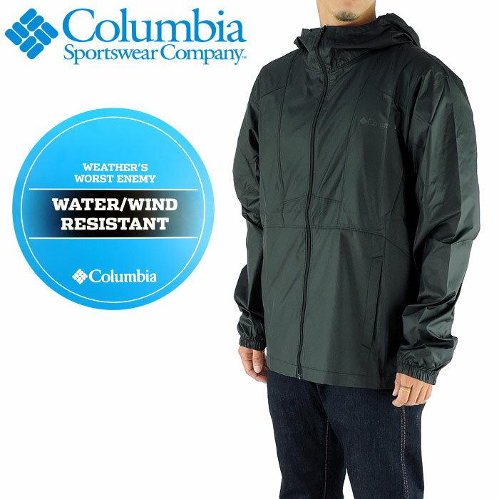 コロンビア ウインドブレーカー メンズ 黒色 COLUMBIA ロゴ アウトドアジャケット パーカー S-XL KE3972