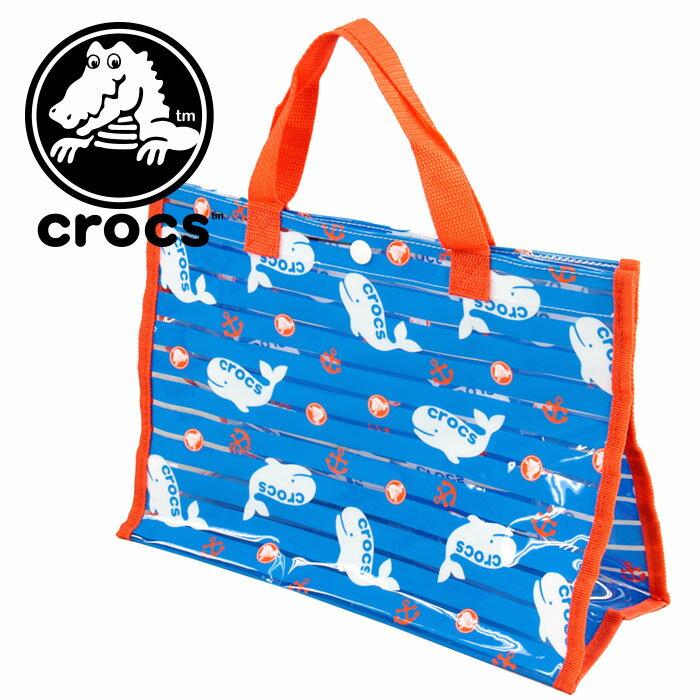 セール 子供用 海水浴 プール サマーバッグ CROCS クロックス くじら柄 マリン トートバッグ ブルー