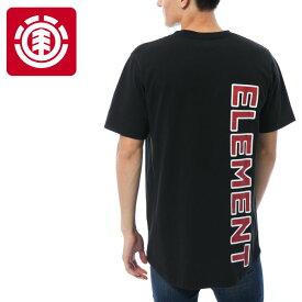 【メール便OK】エレメント ロング丈Tシャツ 黒色 ラウンドカット 半袖 AI021313 ブラック