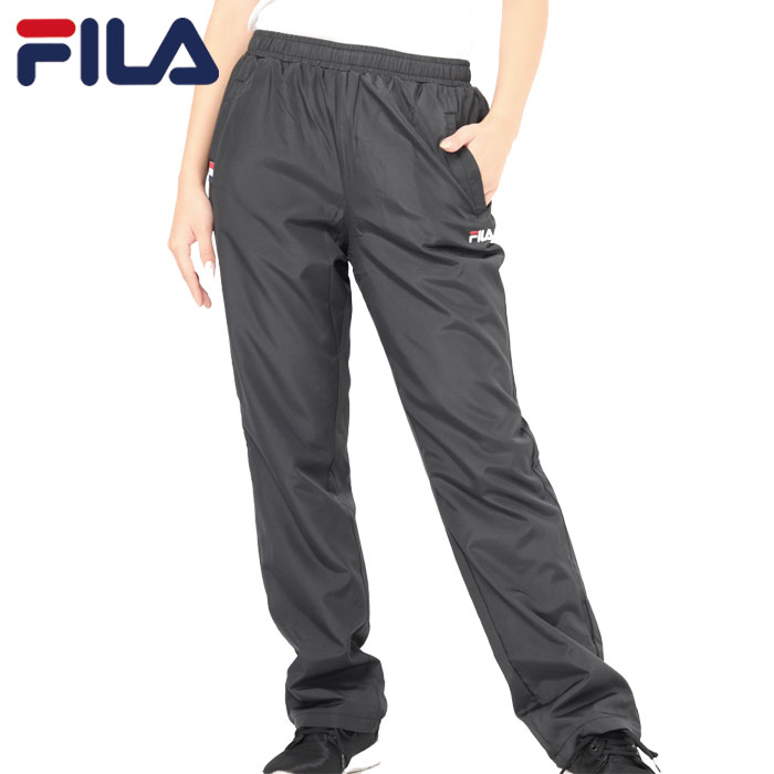 フィラ レディース (W)タフタ×裏フリースロングパンツ ブラックトレーニングウェア FILA 448677 BK