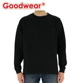 グッドウエア Tシャツ 無地 長袖Tシャツ GOODWEAR USAコットン袖リブポケットTシャツ ブラック