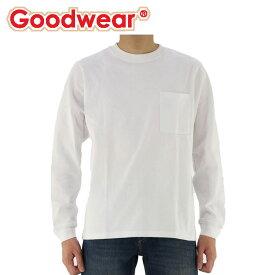 グッドウェア USAコットン袖リブポケットロンT 長袖 Tシャツ メンズ レディース ホワイト Tシャツ 人気 即納