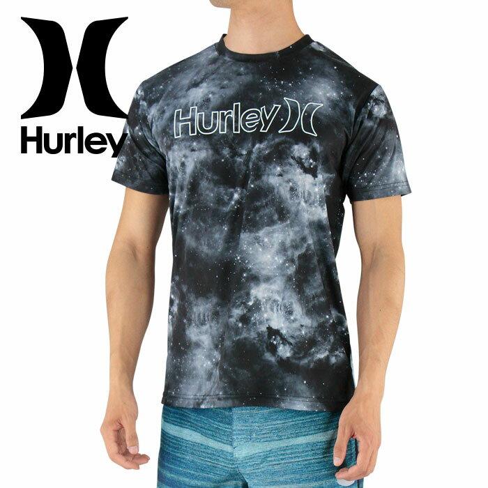 セール HURLEY ハーレー 水陸両用 半そでラッシュガード サーフTシャツ MKSSLY10 00AN 宇宙柄 総柄