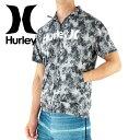 セール HURLEY ハーレー 半袖ラッシュガード ジップアップ 立ち襟 定番ロゴ MKNZLY45 00AX 総柄