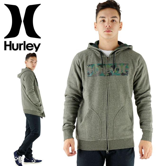 【セール】パーカー メンズ HURLEY ジップパーカー ハーレー MTHZGWF6 ヘザーグレー ロゴプリント