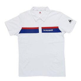 LECOQ メンズ ポロシャツ 半袖 ホワイト ルコック ストレッチ 吸汗速乾 スポーツ QMMRJA40