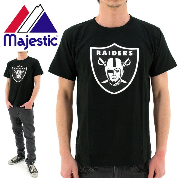 【】 MAJESTIC(マジェスティック)Tシャツ (NM01-OLR-0004 BLK5) NFL オークランド レイダーズ Heavy Weight