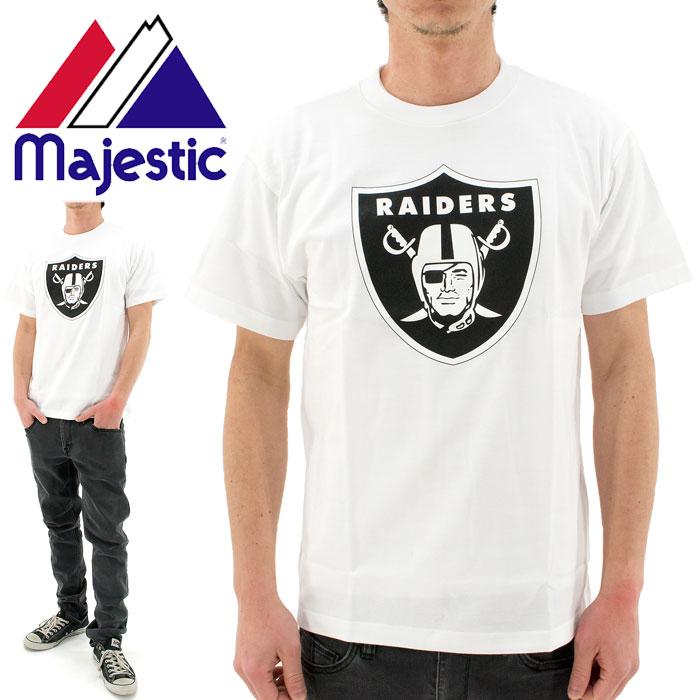【】 MAJESTIC(マジェスティック)Tシャツ (NM01-OLR-0004 WHT1) NFL オークランド レイダーズ Heavy Weight