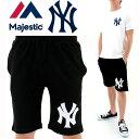 MAJESTIC(マジェスティック) ハーフパンツ スウェットショーツ New York Yankees MM12-NYK-0008 黒