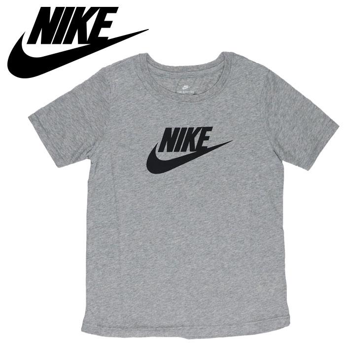 ナイキ レディースTシャツ ロゴTシャツ 半袖Tシャツ コットン グレー NIKE 846469 063