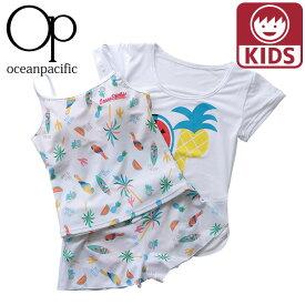 オーピー ガールズ水着 3点セット ショートパンツ Tシャツ スイムウェア トロピカル 白色 ホワイト
