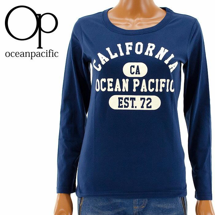 【セール】ロンT OP レディース 555091 オーシャンパシフィック 長袖Tシャツ ネイビー 紺色