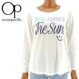 【セール】OP レディス 555092 オーピー 長そで Tシャツ ロンT ロング丈 ビッグTシャツ オフホワイト 白