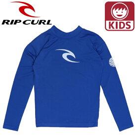 リップカール キッズ ジュニアラッシュガード Tシャツ 長そでラッシュ 子ども用水着 RIPCURL ブルー