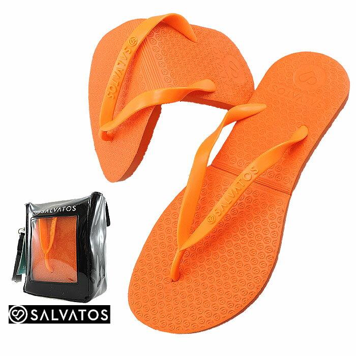 サルバトス 折りたたみサンダル SALVATOS FLIP-FLOP レディースサンダル ビーチサンダル オレンジ