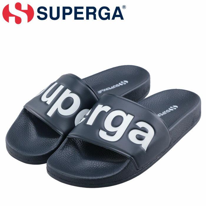 スペルガ シャワーサンダル サンダル SUPERGA S00DUL0-912 シャワサン ビックロゴ 軽量 ネイビーホワイト