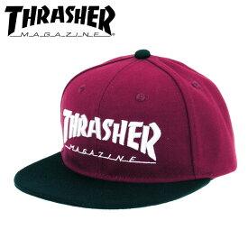 THRASHER(スラッシャー) MAG LOGO 刺繍 CAP スナップバック フラットバイザー キャップ 【17TH-C04 BUG/BLK】バーガンディー