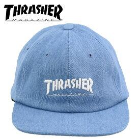 スラッシャー ロゴ刺繍 帽子 キャップ デニム生地 THRASHER CAP 平つば L.DENIM ぼうし