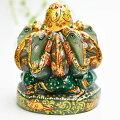 ガネーシャ置物【インディアンアベンチュリン】【約1005g】【パンチャムキ・ラウンド】天然石|グリーンアベンチュリン|ガネーシャ|彫刻置物|商売繁盛|魔除け|守り神|5連神|多頭|