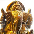 ガネーシャ置物【タイガーアイ】【約625g】天然石|イエロー|タイガーアイ|虎目石|ガネーシャ|彫刻置物|商売繁盛|魔除け|守り神