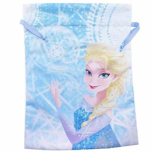 【メール便可】アナと雪の女王 サテン巾着 トラベルきんちゃくポーチL(40*30cm)/エルサ