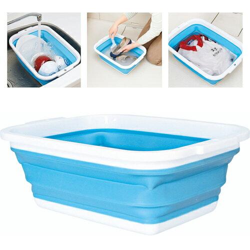 洗い桶 折りたたみ 薄く畳める洗い桶 8.5L コジット 送料無料(洗い桶 おしゃれ 食器洗い キッチン すすぎ つけ置き バケツ 四角 靴 洗い)