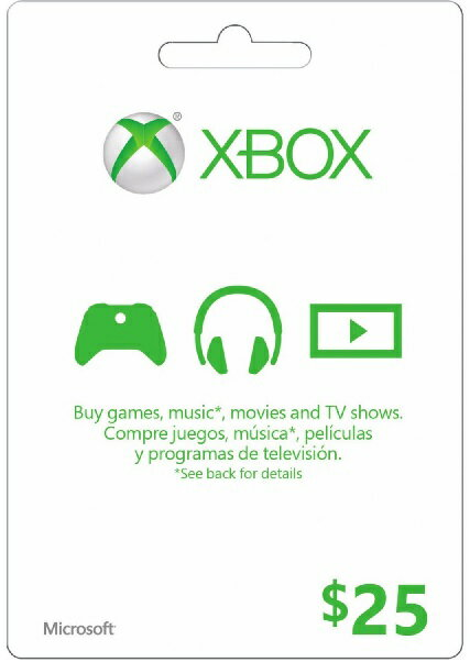 XBOX GIFT CARD $25(エックスボックス ギフトカード $25 北米版)〈Microsoft〉