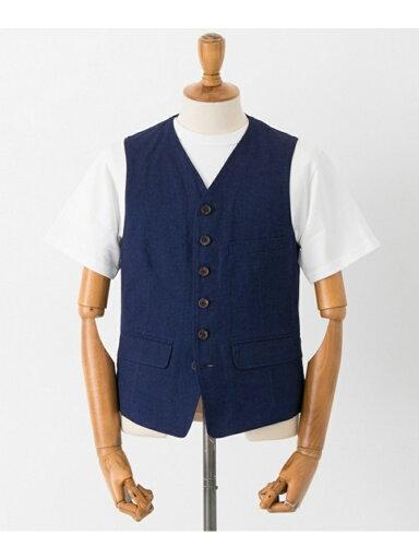 Cotton Linen Matt Vest UF84-13B005: Indigo