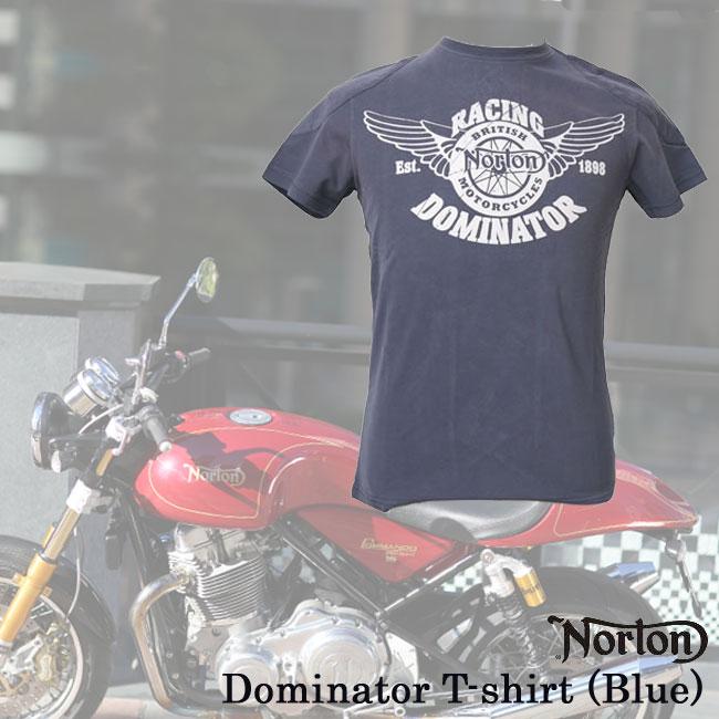 【ajito】Norton ノートン Dominator T-shirt (Blue) Tシャツ 半袖 プリント メンズ 正規取扱マーチャンダイズアイテム バイク