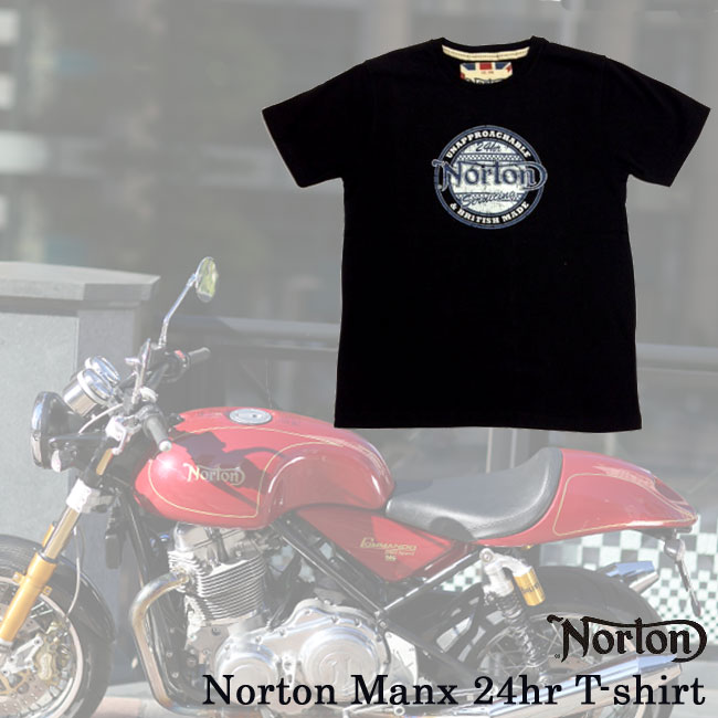 【ajito】Norton ノートン Norton Manx 24hr T-shirt ロゴTシャツ ブラック 半袖 プリント メンズ 正規取扱マーチャンダイズアイテム バイク