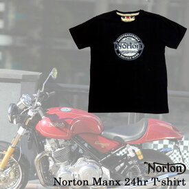 【ajito】Norton ノートン Norton Manx 24hr T-shirt ロゴ Tシャツ ブラック 半袖 プリント メンズ 正規取扱マーチャンダイズアイテム バイク カフェレーサー イギリス車 バイク Cafe Racer
