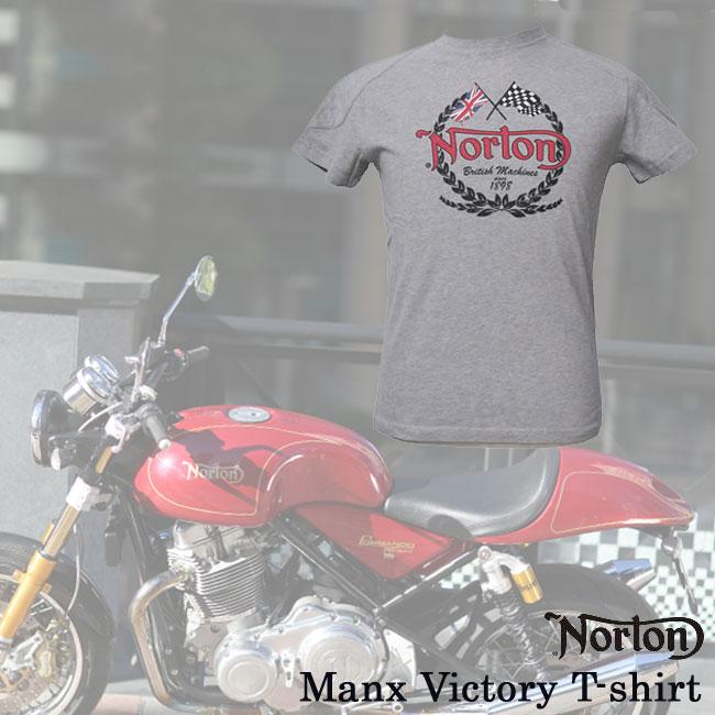 【ajito】Norton ノートン Norton Manx Victory T-shirt ロゴTシャツ グレイ 半袖 プリント メンズ 正規取扱マーチャンダイズアイテム バイク
