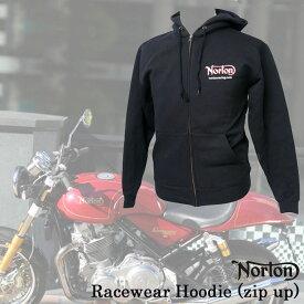 【ajito】Norton ノートン Norton Racewear Hoodie zip up レースウェアフーディー パーカー ジャケット アウター ブラック 半袖 プリント メンズ 正規取扱マーチャンダイズアイテム バイク