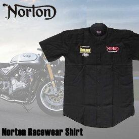 【ajito】Norton ノートン Norton Racewear Shirt レーシング ロゴ シャツ 半袖 プリント メンズ ブラック 黒 モーターサイクル 正規取扱 マーチャンダイズアイテム バイク Sサイズ カフェレーサー イギリス車 バイク Cafe Racer