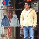 BUDDY Champion チャンピオン ボア フリース フード パーカー アウター バディ 原宿 ジップ アメカジ アメリカン ベージュ グレー ネイ…
