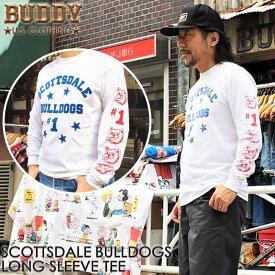 BUDDY ORIGINAL SCOTTSDALE BULLDOGS ロングスリーブ Tシャツ シャツ アメカジ トップス アメリカン ブルドッグ バディ 原宿 メンズ ストリート ファッション ロンT ライトニング ホワイト 長袖 カットソー GILDAN