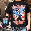 BUDDYROCKINAMERICAAGAIN!TedNugentツアーTシャツテッドニュージェントアメリカバンドTロックT星条旗ハードロックヘヴィメタルメンズストリートファッショントップスフェス