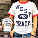 BUDDY オリジナル ホワイト×レッド リンガー トリム Tシャツ ロゴ USA アメリカ 半袖 クルーネック バディ アメカジ ストリート ファ…