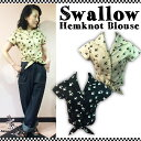 SAVOY CLOTHING Swallow Hemknot blouse スワロー プリント 前結び ブラウス 2WAY 半袖 サヴォイクロージング シャツ リボン ブラック …