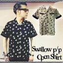 SAVOY CLOTHING SWALLOW P/P OPEN SHIRT スワロー プリント パイピング 切替 オープンシャツ サヴォイクロージング オープンカラー 50'…