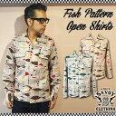 SAVOY CLOTHING Fish Pattern Open Shirts サヴォイクロージング フィッシュ パターン オープン シャツ 魚 柄 長袖 メンズ 50's 開襟 …