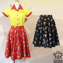 SAVOY CLOTHING New Neon Circular Skirt ネオン プリント サーキュラー スカート サヴォイクロージング パーティー ロカビリー ファッ…