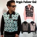 SAVOY CLOTHING Argyle Pullover Knit アーガイル プルオーバー ニット 長袖 チェック 柄 襟付き セーター ウール メンズ サヴォイクロ…