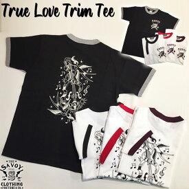 SAVOY CLOTHING True Love Trim Tee タイガー パンサー スワロー メッセージ バックプリント ロゴ Tシャツ アイテム 半袖 ロカビリー ファッション メンズ ホワイト ブラック ロック 原宿 ヴィンテージ ビンテージ アメリカン 50's 50年代 オールディーズ